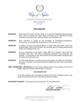 佛州那不勒斯市長宣布法輪大法日