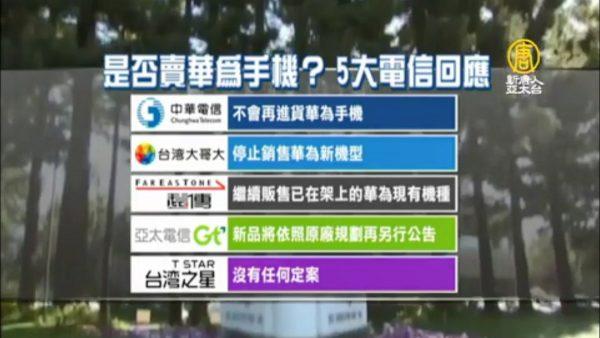 英日电信巨头不再卖华为  台湾两大电信商跟进