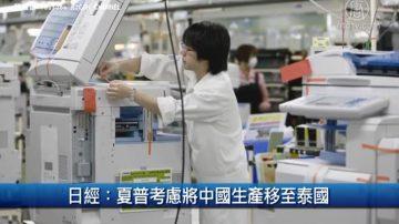 日經:夏普考慮將中國生產移至泰國