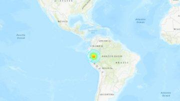 规模8强震袭秘鲁北部 震源深度105公里