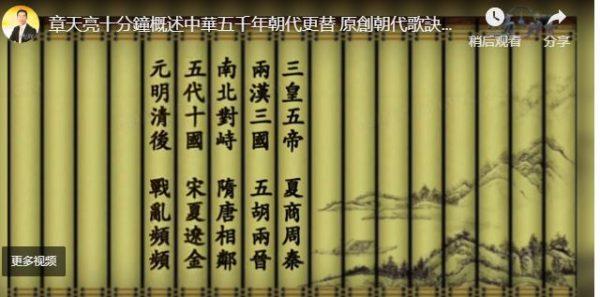 【天亮時分】章天亮十分鐘概述中華五千年朝代更替 原創朝代歌訣