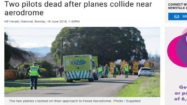 新西兰轻型飞机降落前空中相撞 2飞行员身亡