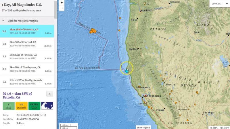 北加州規模5.6地震 深度9.4公里尚未傳傷亡