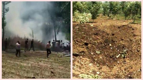中共军机天津坠毁 地面现10米大坑有烧焦尸体