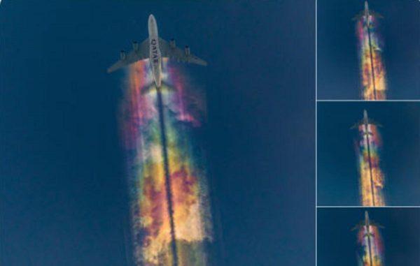 """没修图非合成!德国摄影师拍下梦幻般""""彩虹飞机云"""""""