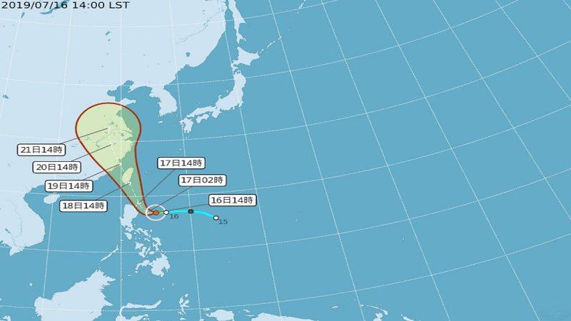 丹娜絲恐90度北轉襲台 17日約中午發陸警