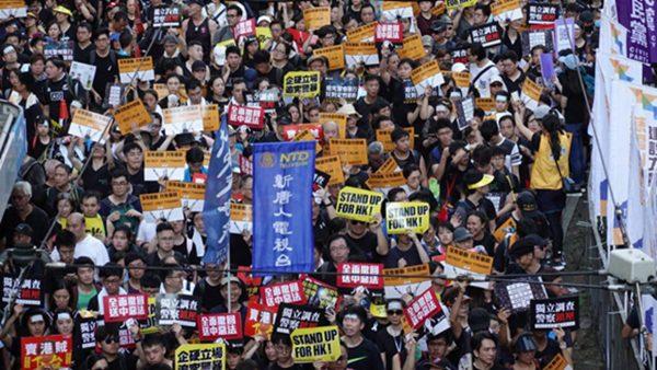 【组图5】香港七一游行浩浩荡荡 游行队伍和平理性