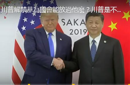 【江峰時刻】川普解禁華為國會能放過他麼?川普是不是上當了?習近平的G20小球轉動大球,川普有不同的解讀麼