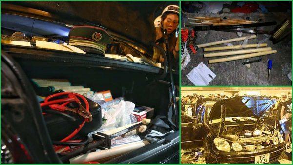 元朗私车惊现大量木棍凶器 电费单与中联办官员同名