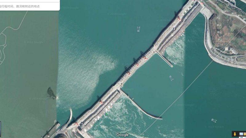 谷歌地图示三峡大坝扭曲变形 党媒辟谣又改口