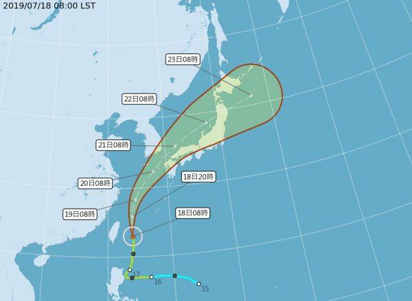 台风丹娜丝北上 全台15县市注意大雨