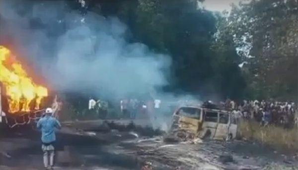 尼国油罐车翻覆 民众收集漏油爆炸 酿45死逾百伤