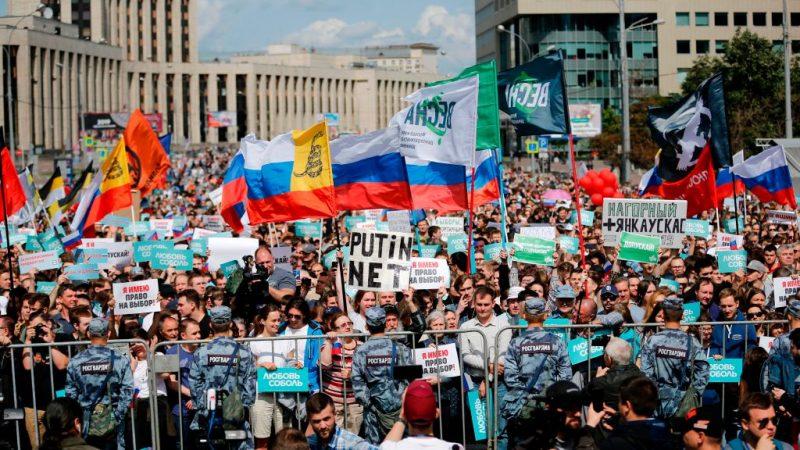 莫斯科拒反對派參選 逾2萬人走上街頭示威