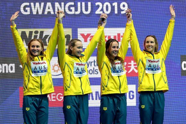 游泳世锦赛 澳洲女子获4×200米金牌