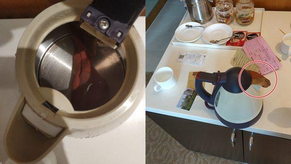 广西男入住五星酒店 烧水壶内喝出袜子