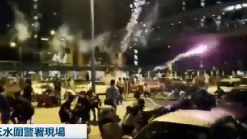 私家车放烟花炸伤抗议者 港警霰弹枪瞄准人群(多视频)
