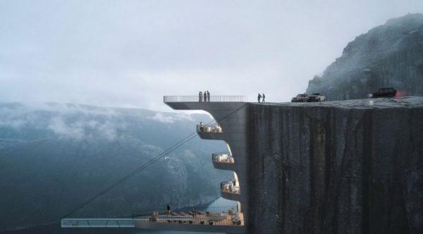 挑战心脏极限?挪威圣坛岩悬崖饭店效果图曝光(组图)