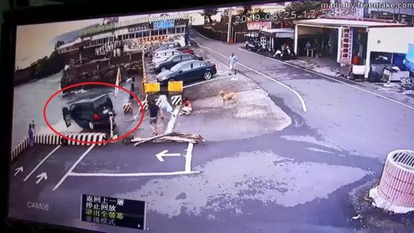 休旅車墾丁失控衝入海 一家9口驚險獲救(視頻)