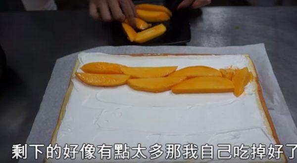 芒果蛋糕捲 新鮮芒果天然美味(視頻)
