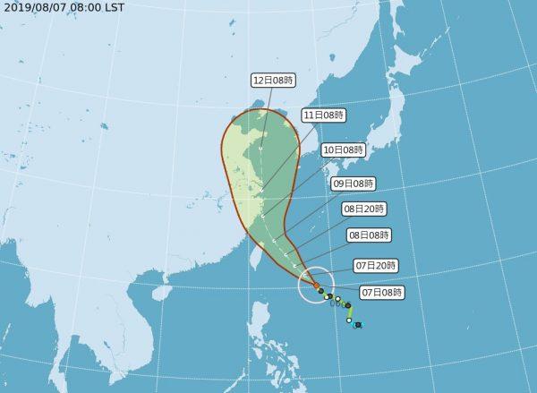 利奇马增强为中台 预估从北台湾海面通过