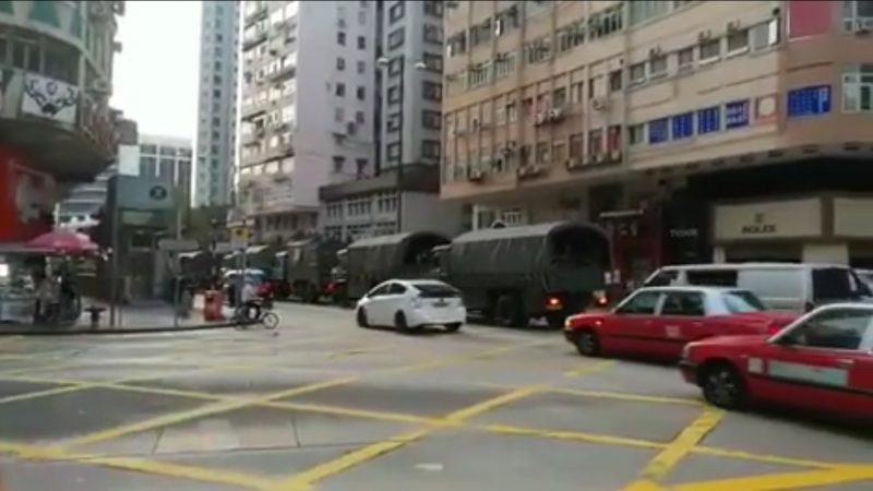 多辆中共军车现香港街头 引发各界猜测