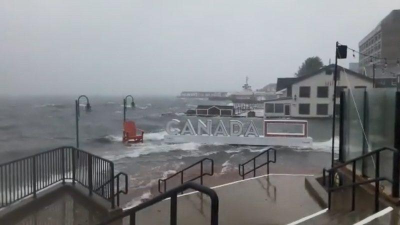 多利安以150公里风速袭加拿大 37万人无电可用