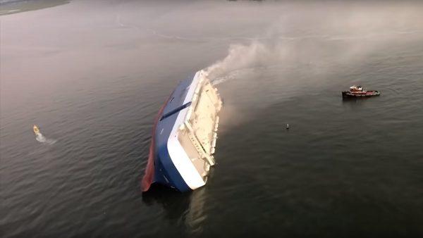 韓載約4000輛汽車運輸船 美國海域傾覆4船員失蹤