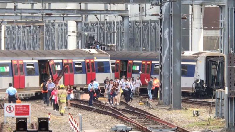 港铁红磡站严重事故 列车进站发怪声出轨断两截