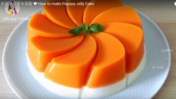 木瓜果冻蛋糕 漂亮簡單的做法(視頻)