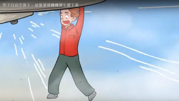 男子自高空落下,并靠着飞机机翼生还下来(视频)