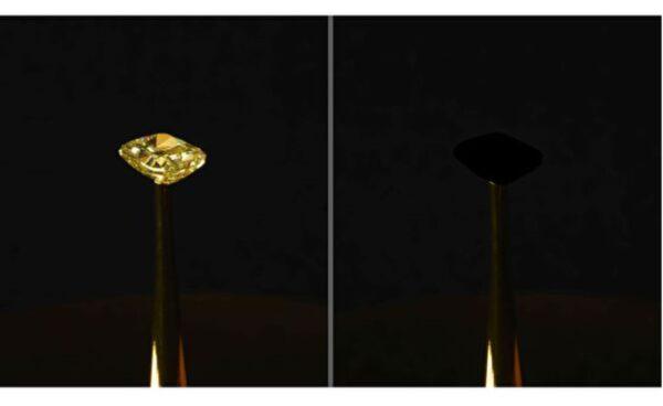 世上最黑的材料令16克拉黄钻凭空消失