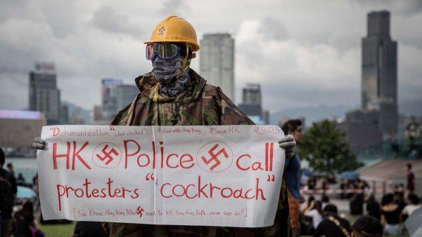 無懼直升機撒熒光粉標識 4萬港人出席三罷集會