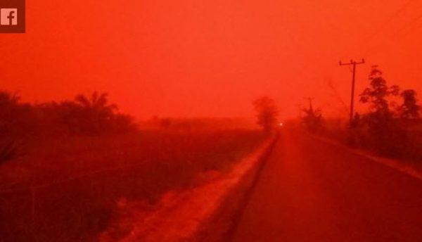 """印尼惊现""""血色天空"""" 满眼腥红如世界末日(视频)"""