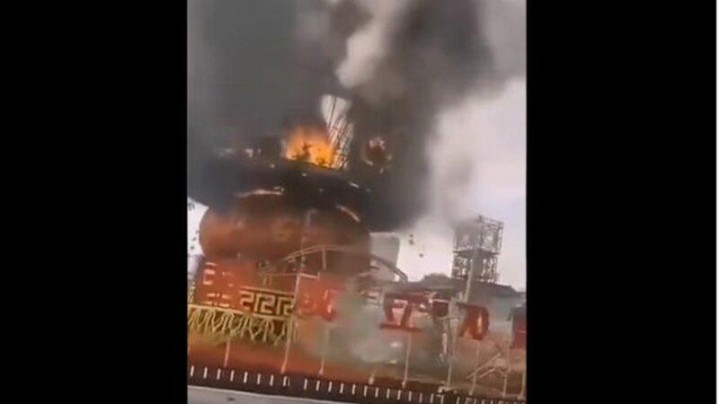 天滅中共?大陸慶十一巨型花籃起火焚毀