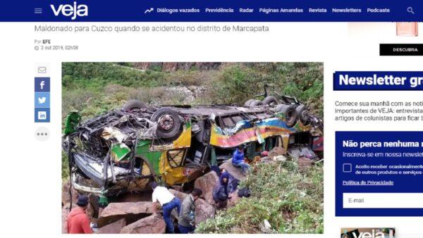 巴士墜百公尺深懸崖扭曲變形 秘魯山區已知23死