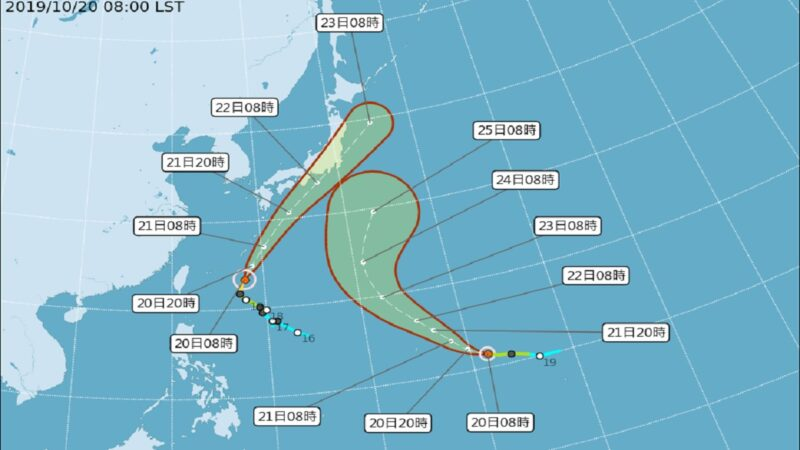 雙颱前進日本 沖繩入夜留意強風大雨