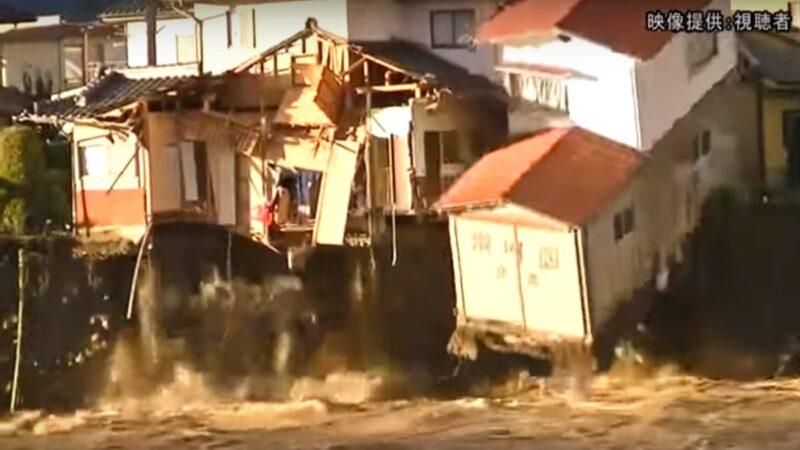 台风哈吉贝重创日本 实拍千曲川暴涨民宅落水瞬间