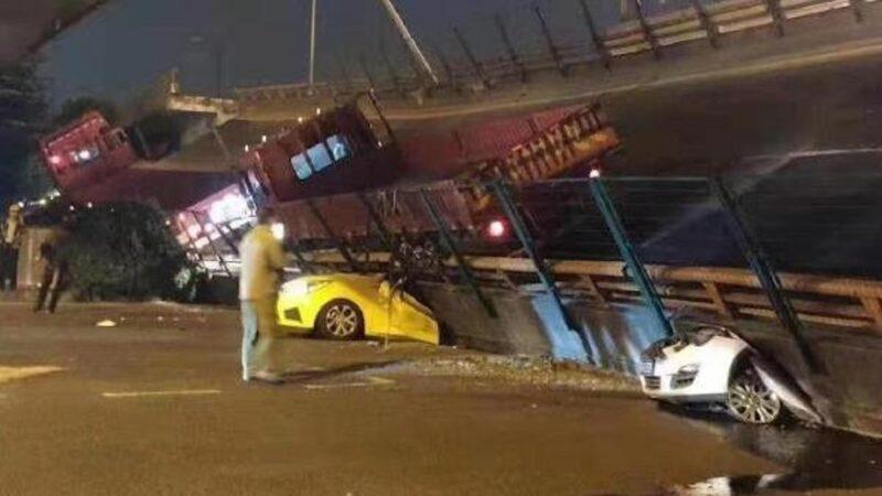 江蘇高架橋無預兆垮塌 多車被壓扁死傷難估(視頻)