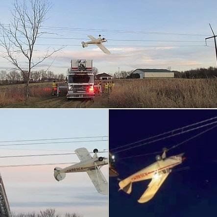 高難度著陸?小型飛機倒掛高壓電線 機師獲救