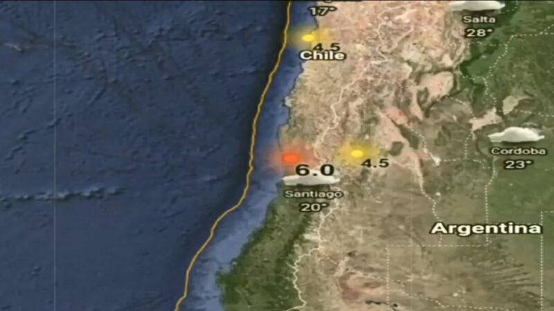 规模6.0地震袭智利 圣地亚哥建物晃动