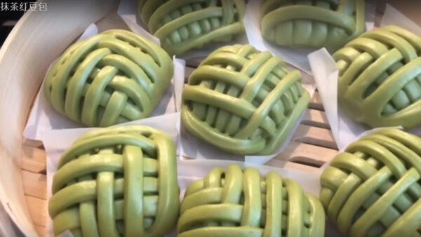 抹茶红豆包 做法简单 超有创意(视频)