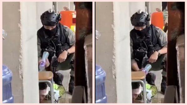 """港警""""水刑""""虐待示威者 辨称""""洗伤口""""(视频)"""