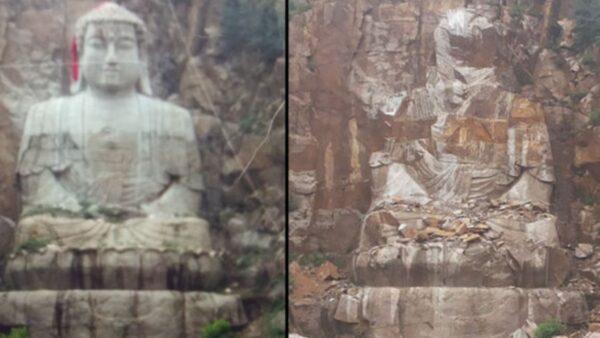 中共大举灭佛 吉林省29米释迦牟尼雕像遭炸毁