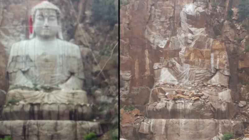 中共大舉滅佛 吉林省29米釋迦牟尼雕像遭炸毀