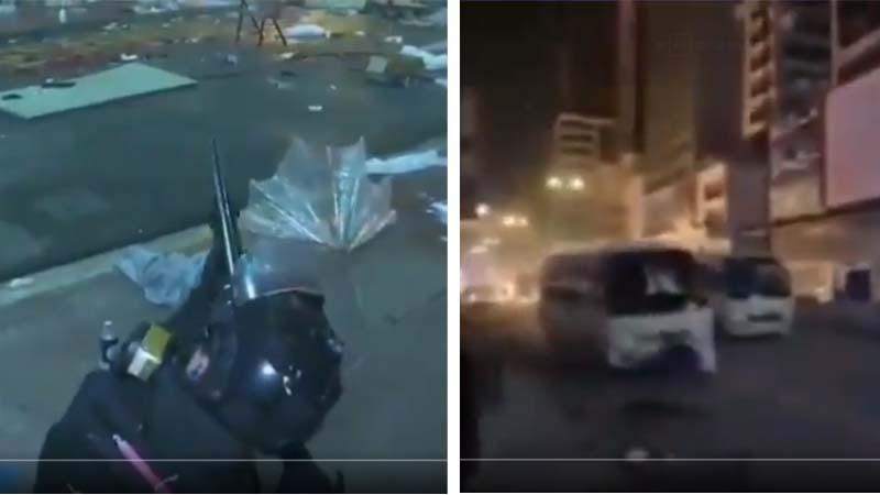 實拍港警突擊步槍掃射理大 警巴拖行抗議者(視頻)