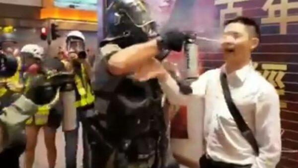 恐怖!港男问路 突遭港警胡椒剂喷眼(视频)