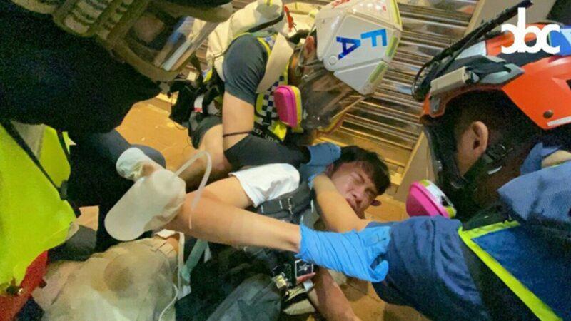 港急救员被中国制催泪弹炸伤 背部皮肤焦黑(视频)