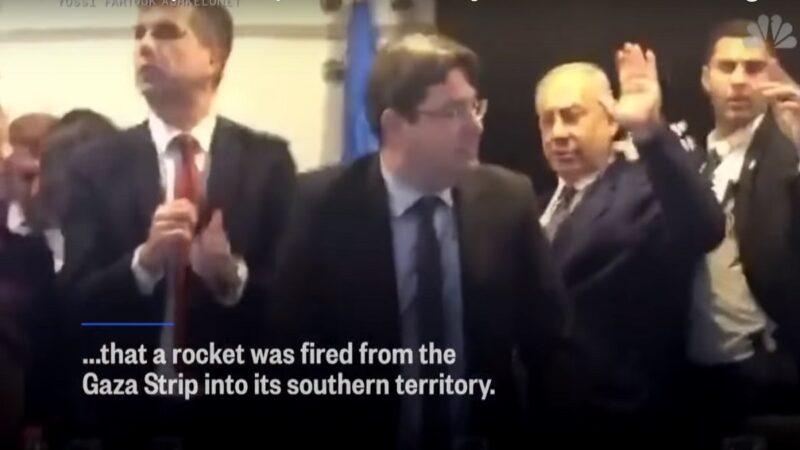 竞选集会遇火箭来袭 以色列总理被迫躲进防空洞