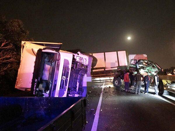 国1北上湖口路段 凌晨2起车祸造成2人死亡