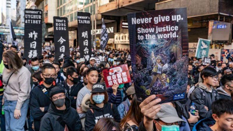 香港80万人大游行 高呼驱逐共党抗争到底 (组图视频)